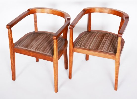 Czech Pair of Walnut Art Deco Armchairs, 1920s