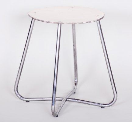 Small Round Bauhaus Chrome Stool by Vichr & Spol, 1930s