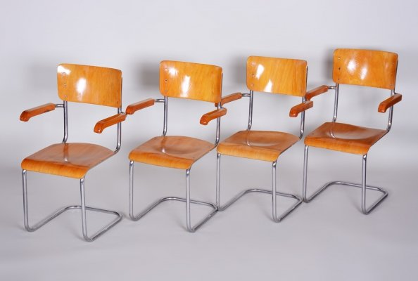 Set of 4 Beech & chrome 1238P Bauhaus Armchairs by Vichr a Spol, 1930s