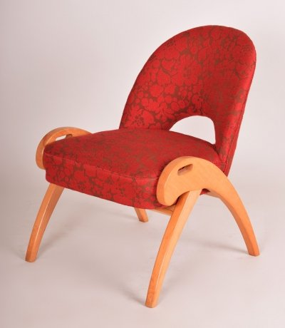 Midcentury chair in beech & red fabric, Czechia 1950s