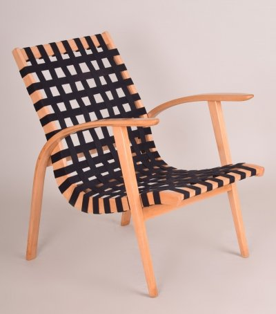 Black/Beige Midcentury Beech Chair by Jan Vaněk, 1930s