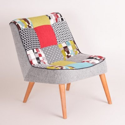 Czech Midcentury Small Colorful Beech Armchair, 1950s