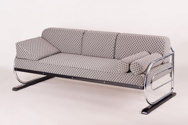 Bauhaus Tubular Chromed Steel Sofa by Robert Slezák, Design by Thonet, 1930s