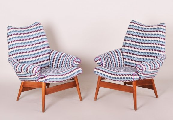Pair of Czech Midcentury Blue Oak Armchairs, 1950s