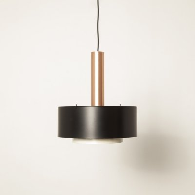 Matt Black & Copper hanging lamp, 1960s