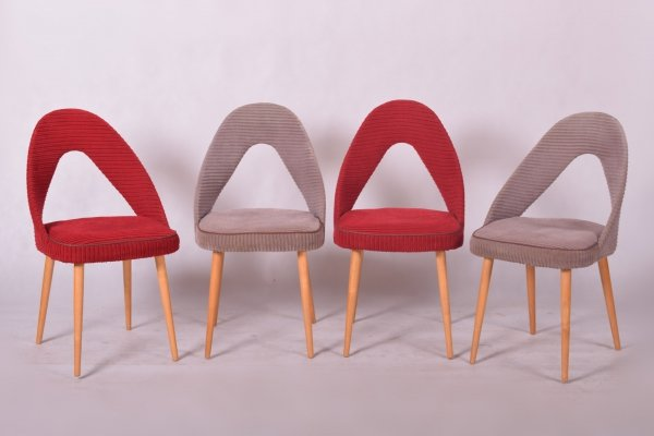 Set of 4 Beech & fabric Chairs, Czechia 1950s
