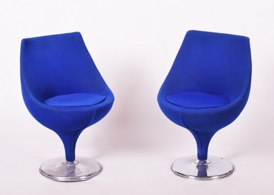 Pair of Italian Blue Midcentury Swivel Chairs, 1960s