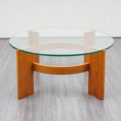 Vintage coffee table in teak & glass, 1970s