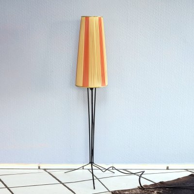 1950s pleated shade tripod floor lamp
