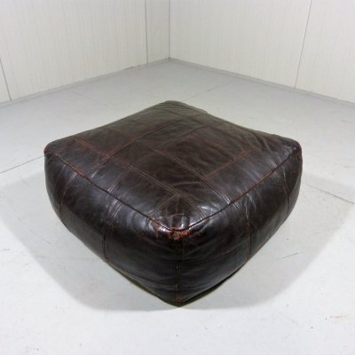 Large vintage leather patchwork pouf by De Sede, Switzerland 1970's