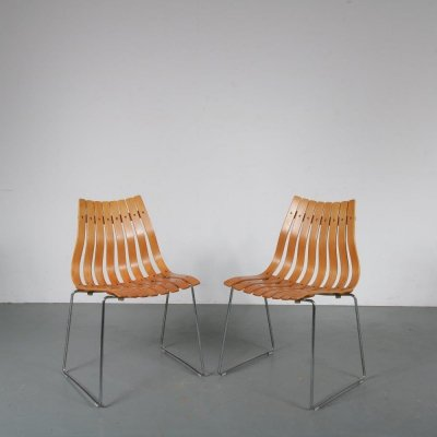 Pair of Norwegian stacking chairs by Hans Brattrud for Hove Möbler, Norway 1960s