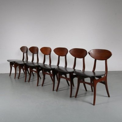 Set of 6 Dutch dining chairs by Louis van Teeffelen for WéBé, 1960s