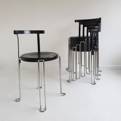 Set of 6 'B4' Stacking Chairs by Börge Lindau & Bo Lindekrantz for Bla Station, 1980s
