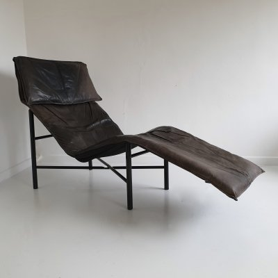 Brown Leather 'Skye' Chaise by Tord Björklund for Ikea, c.1980