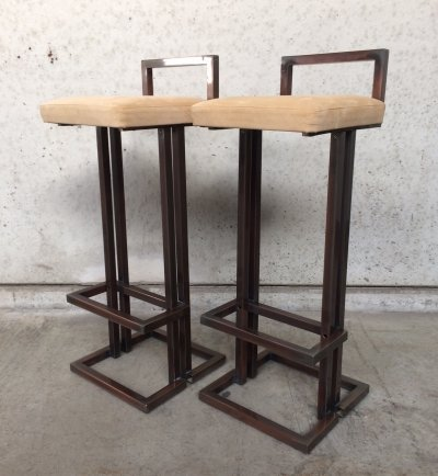 Pair of Hollywood Regency Bar Stools by Belgo Chrom, 1970's