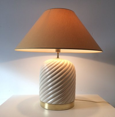 Tommaso Barbi Table Lamp in Ceramic & Brass, 1970s