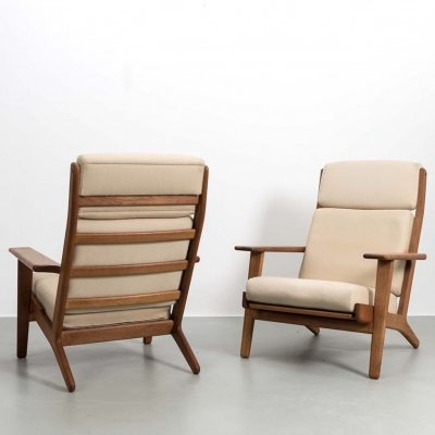 Set of 2 Hans Wegner GE-290 high back chairs in oak & original upholstery