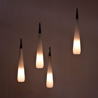 Opaline Glass Pendant Lamps by Uno & Östen Kristiansson for Luxus, Sweden 1950s