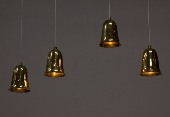 Brass Bell Shaped Pendant Lamps by Boréns, Sweden 1950s