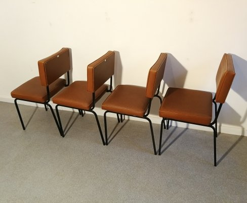 Set of 4 chairs by Cubacier, Belgium 1950s