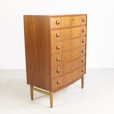 Danish chest of 6 drawers in teak by Kai Kristiansen, 1960s