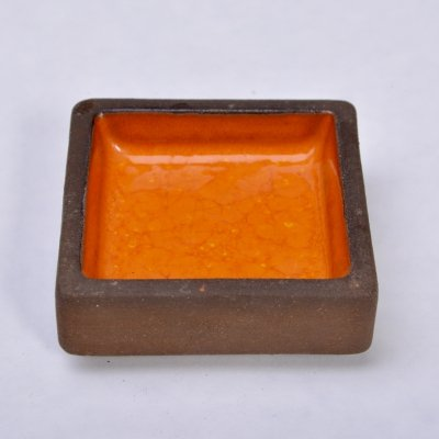 Small rectangular stoneware bowl with orange ceramic glazing by Knabstrup