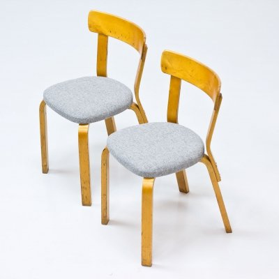 Pair of Model 69 Chairs by Alvar Aalto, Swedish Production 1940s