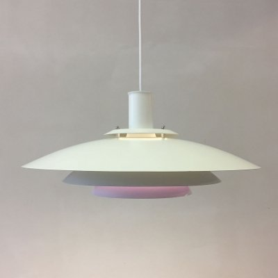 White & lilac pendant by Form Light Denmark, 1970s