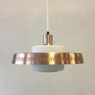 Danish pendant in rose copper & frosted glass, 1960s