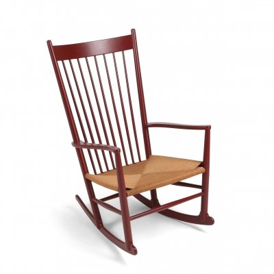 Hans Wegner J16 Rocking Chair in Burgundy, 1944