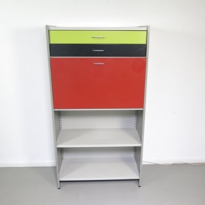 Industrial steel Gispen 5600 cabinet by André Cordemeyer with 2 drawers desk-unit & light