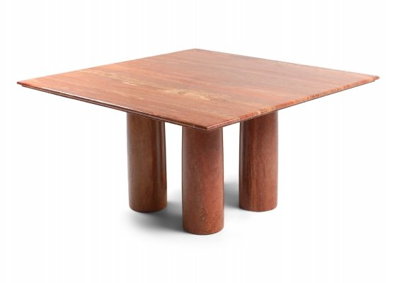 Mario Bellini's Red Travertine 'Il Collonato' Dining Table, 1970s