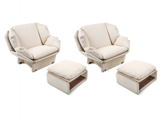 Pair of Lounge Chairs In Cream Wool, 1970s