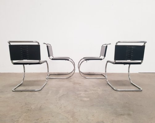 Set of 4 MR10 laced black leather dining chairs by Mies van der Rohe, 1970s