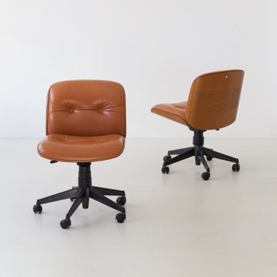 1960s swivel desk chairs by Ico Parisi for MIM