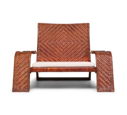 Post-modern Lounge Chair In Woven Leather by Marzio Cecchi, 1970s