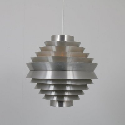 Large chrome hanging lamp by Raak, the Netherlands 1960s