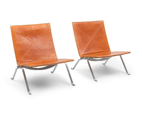 Pair of PK22 Cognac Leather Poul Kjærholm for Kold Christensen Lounge Chairs, 1960s
