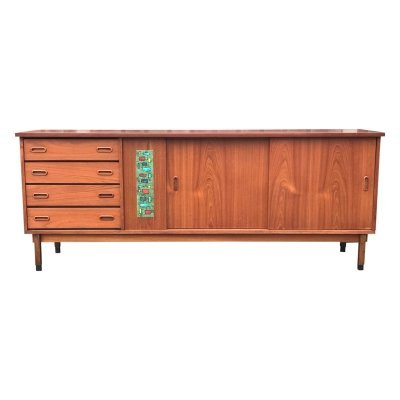 Large teak mosaic sideboard by Alfred Hendrickx for Belform, 1950s