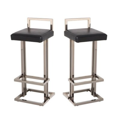 Maison Jansen Chrome & Black Leather Bar Stools, 1970s