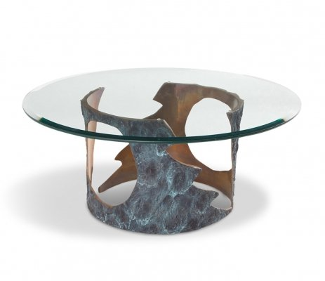 Willy Ceysens Coffee Table in Solid Bronze & Glass, 1970s