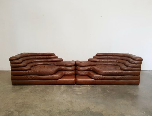 Set of 2 De Sede DS-1025 Terrazza sofa's by Ubald Klug, 1970s