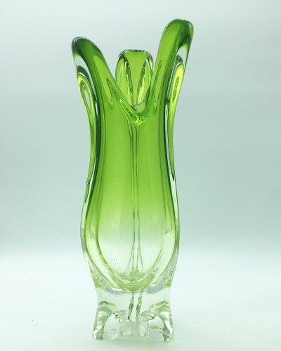 Green Murano vase by Fratelli Toso, 1960s
