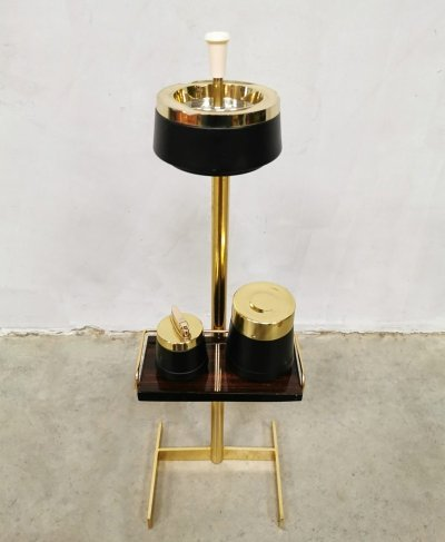 Vintage brass floor ashtray stand