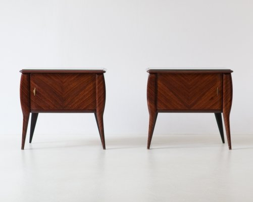 Pair of Italian Rosewood Bedside Tables with Grey Glass Top, 1950s