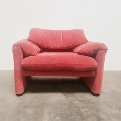 Pink velvet Maralunga chair by Vico Magistretti for Cassina, 1970s