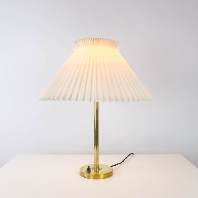Danish Brass Lamp with Le Klint Shade, Denmark 1960s