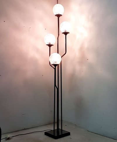 4 armed floor lamp with clear relief glass globes by Reggiani, Italy 1960s
