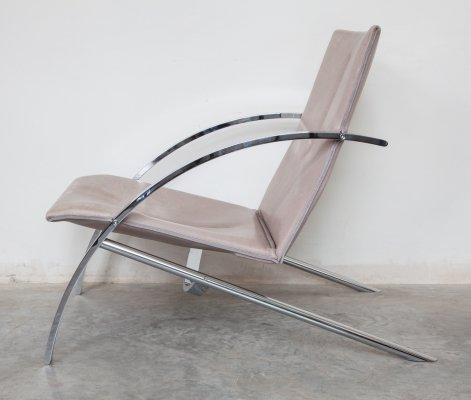Pair of Leather 'Arco' Lounge Chairs by Paul Tuttle for Strässle, Switzerland 1976
