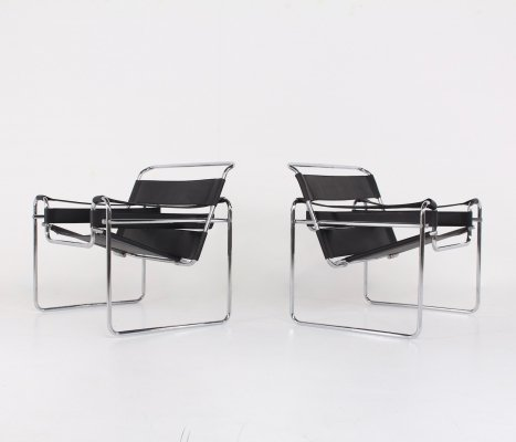 Pair of Marcel Breuer Black Leather Wassily B3 Armchairs